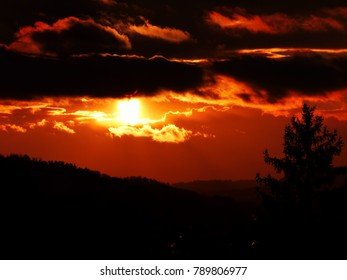 Evening sun in Furtwangen Germany