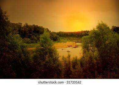 evening sun over a river