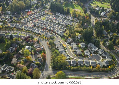 Evening sun shining on a suburban neighborhood in Washington