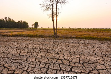 The evening sun shone on the barren and cracked ground. Elniyo phenomenon in the tropical region of Southeast Asia