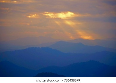 The Evening Sun with sunlight to mountain