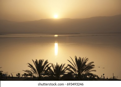 Evening, sunset, Dead Sea, Israel, beach, opposite Jordan mountain. Silhouette of palm trees.