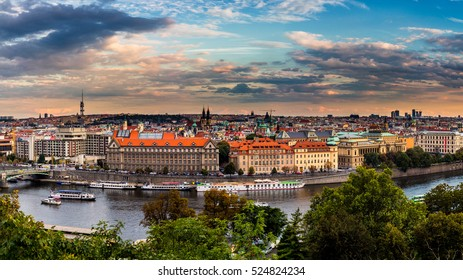 Evening sunset in the old town of Prague, Czech Republic