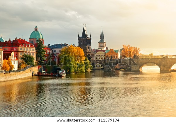 evening sunset in the old town of Prague
