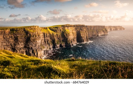 Evening sunset on Cliffs of Moher, Ireland