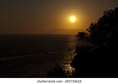 The evening sunset over the Croatian seashore