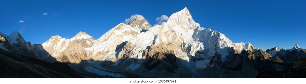 Evening sunset panoramic view of mount Everest with beautiful blue sky from Kala Patthar, Khumbu valley, Sagarmatha national park, Nepal Himalayas mountains