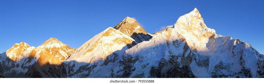 Evening sunset panoramic view of mount Everest with beautiful blue sky from Kala Patthar, Khumbu valley, Sagarmatha national park, Nepal Himalayas
