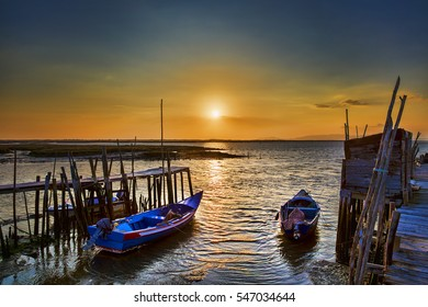 Evening and Sunset at Porto Palafitico, Carrasqueira, Portugal