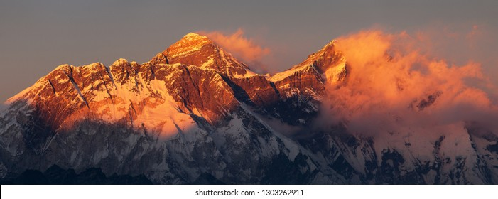 Evening sunset red colored view of Mount Everest and Lhotse with beautiful clouds from Kongde village, Khumbu valley, Solukhumbu, Nepal Himalayas mountains
