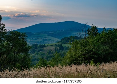 Evening and sunset in Velky Lopenik from Bosaca, Biele Karpaty