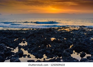 Evening sunset view of the coast near the village of Alcala..  Tenerife. Canary Islands.