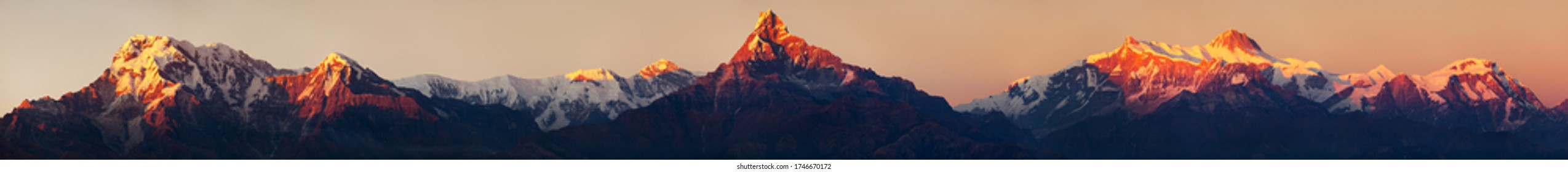 Evening, sunset view of mount Annapurna and Machapuchare or Machhapuchhare, Nepal Himalayas mountains