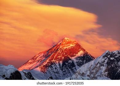 Evening sunset view of Mount Everest from Renjo pass red colored. Three passes and Mt Everest base camp trek, Khumbu valley, Solukhumbu, Sagarmatha national park, Nepal Himalayas mountains