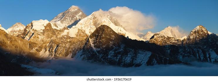 Evening sunset view of Mount Everest Lhotse and Makalu from Gokyo peak. Three passes and Mt Everest base camp trek, Khumbu valley, Solukhumbu, Sagarmatha national park, Nepal Himalaya mountain