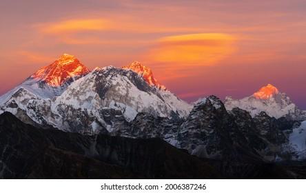 Evening sunset view of Mount Everest, Lhotse and Makalu from Renjo pass. Three passes and Mt Everest base camp trek, Khumbu valley, Solukhumbu, Sagarmatha national park, Nepal Himalayas mountains