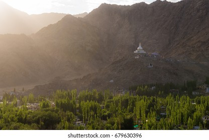 Evening sunset view of Tall Shanti stupa, the big stupa in Leh and one fron the best buddhist stupas - Jammu and Kashmir - Ladakh - India