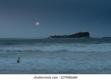 Evening swim under the super moon - January 2018
