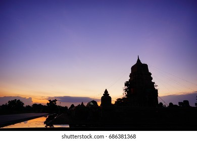 Evening at the temple in Thailand, the sky color is purple, the color is beautiful.