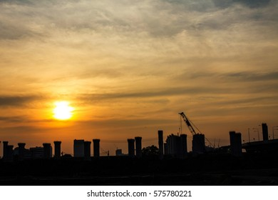 evening time of construction site