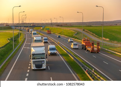 evening traffic of cars on the Polish expressway