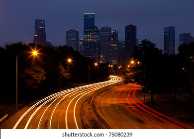 Evening Traffic heading into downtown Houston