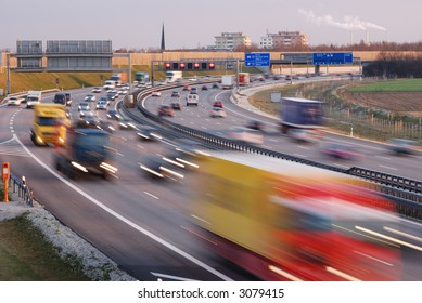evening traffic in munich, motion blur