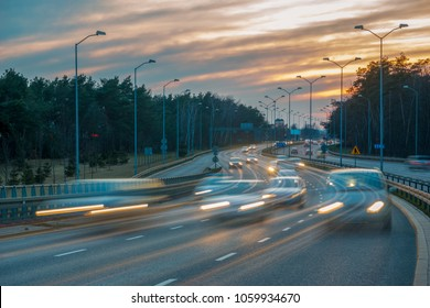 evening traffic on the highway