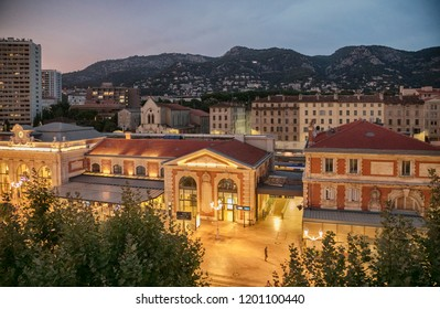 evening Train staion in Toulon, France
