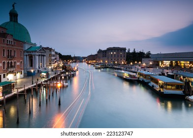 Evening in Venice, long exposure shot overlooking Grand Canal