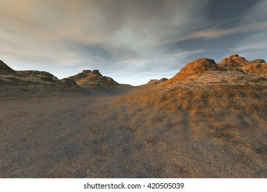 Evening view, 3D rendering, mountains and rocks and a wonderful sky.