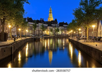 Evening view of the Aa river (Drentsche Aa) with tower of the A-Church (Aa-Kerk) in Groningen, Netherlands