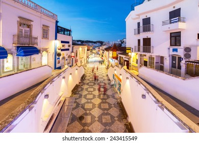 An evening view of Albufeira, Algarve region, Portugal