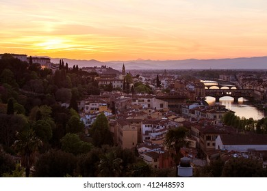 Evening view -Arno river Ponte Vecchio bridge with sunset scenery shot-cityscape of Florence Italy