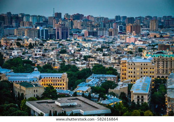 Evening View of the Baku city lights. Evening city view lights. Best tourist city with light. City view of the town lights, Baku Azerbaijan. Baku pictures Lovely background. Baku picture background