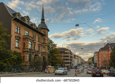 Evening view with an beautiful blue sky on a street in Munich on September 27, 2015 in Bavaria, Germany.