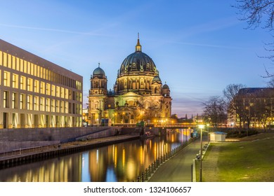 Evening view of Berlin Cathedral with a reflection in the Spree river