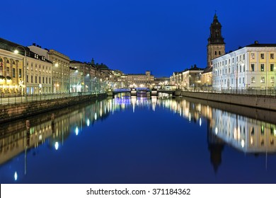 Evening view of the Big Harbor Canal and German Church (also called Christinae Church) in Gothenburg, Sweden
