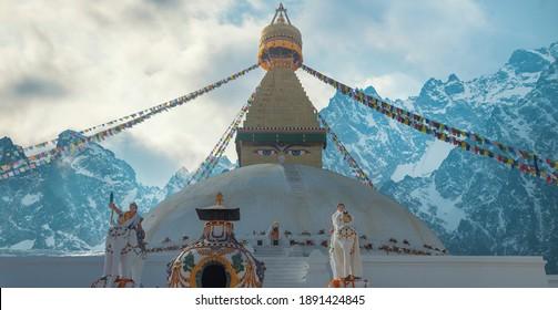 Evening view of Bodhnath stupa .  Kathmandu .  Nepal