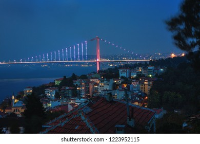 Evening view of Bosphorus and Bosphorus Bridge from the hilltop of Kuzguncuk, small district at the coastline of Bosphorus, Istanbul