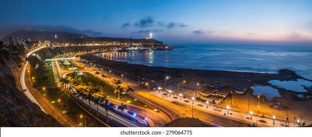 Evening view of the Chorrillos Bay in Lima, Peru.
