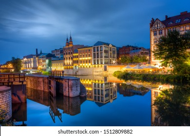 Evening view of the city. Opole, Poland.