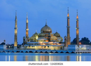 Evening view of crystal mosque in Kuala Terengganu, Malaysia