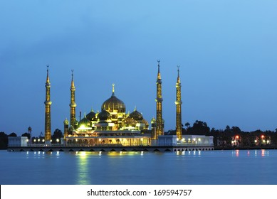 Evening view of crystal mosque in Kuala Terengganu, Malaysia ( Blue hour )