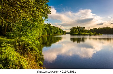 Evening view of the Delaware River at Delaware Water Gap National Recreational Area, New Jersey.