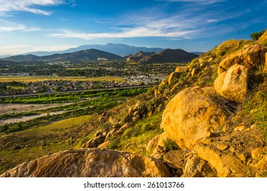 Evening view of distant mountains and valleys from Mount Rubidoux Park, in Riverside, California.