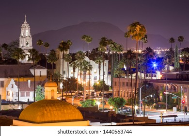 Evening view of downtown Riverside, California, skyline.