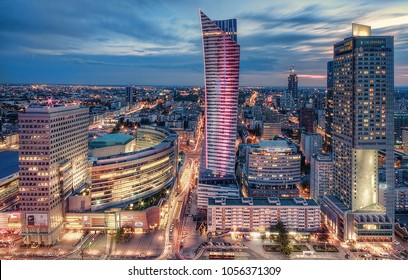 Evening view of downtown Warsaw, Poland.