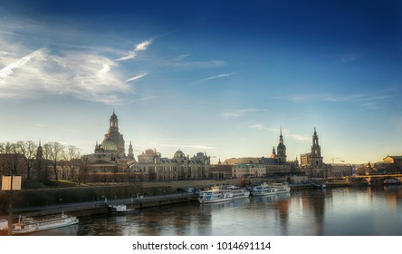 Evening view of Dresden ancient buildings along Elba river