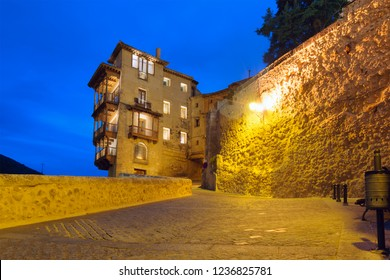 Evening view of famous hanging houses (Casas Colgadas) in Old town of Cuenca, Spain